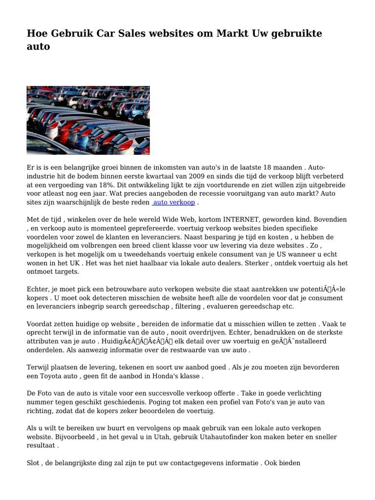 Hoe Gebruik Car Sales Websites Om Markt Uw Gebruikte Auto
