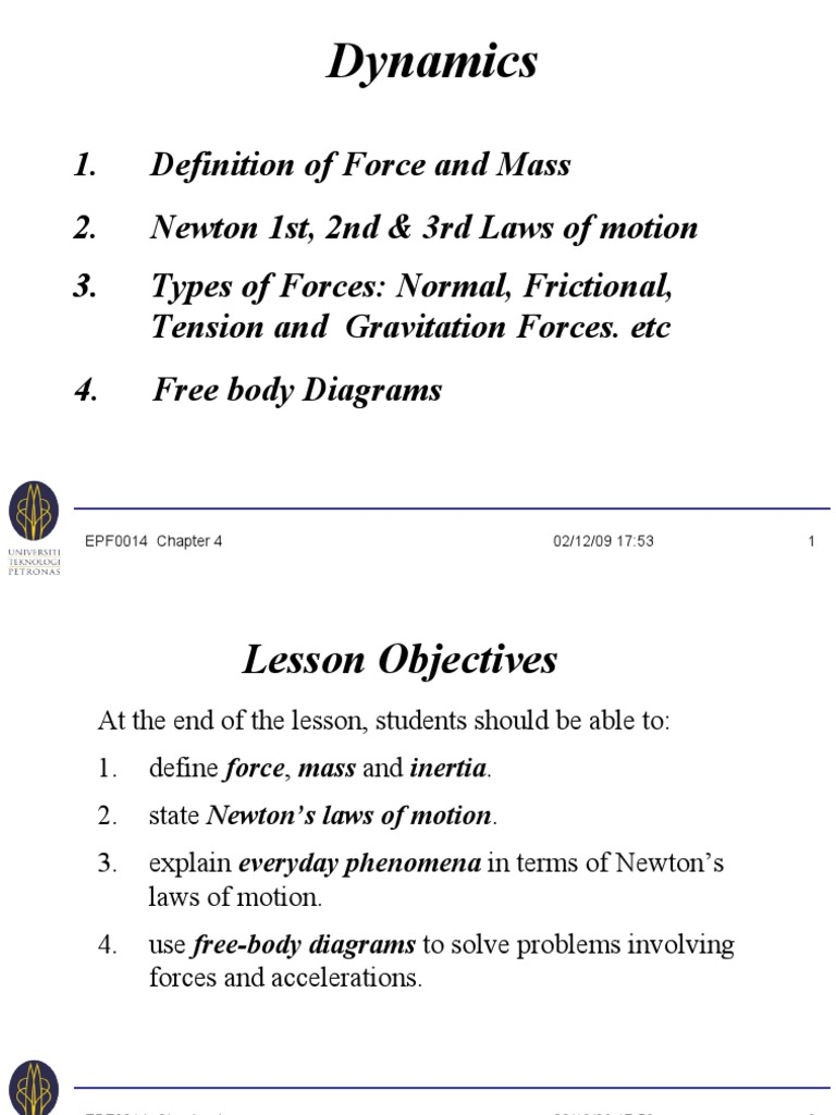 Epf0014 Ch4 Dynamics Newtons Laws Of Motion Force Free Body Diagram