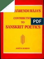 Pratiharenduraja's Contribution to Sanskrit Poetics - Anita Karan