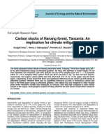 Carbon stocks of Hanang forest, Tanzania