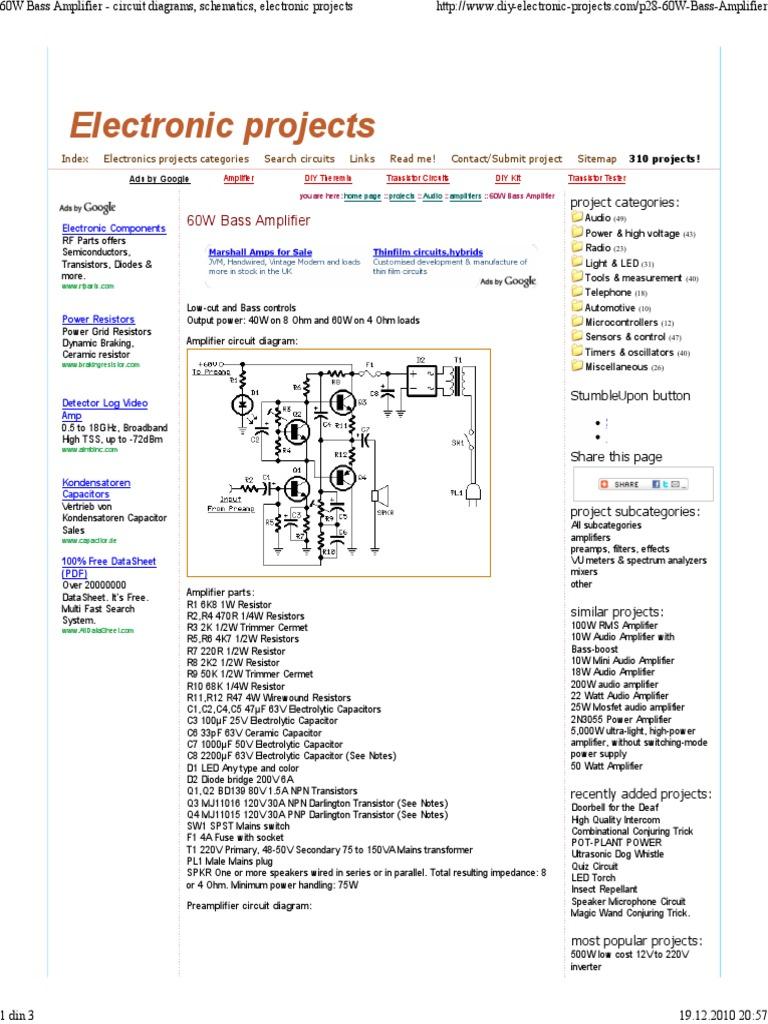 60w Subwofer Amplifier Capacitor 500watt Power Circuit Schematic Diagram
