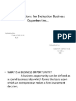 Considerations for Evaluation Business Opportunities