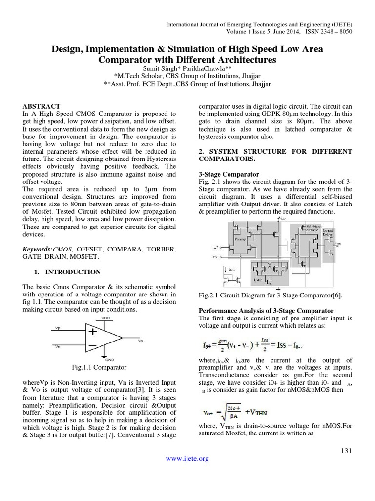 Design Implementation Simulation Of High Speed Low Area Comparator Circuits With Hysteresis Tool Different Architectures Mosfet Field Effect Transistor