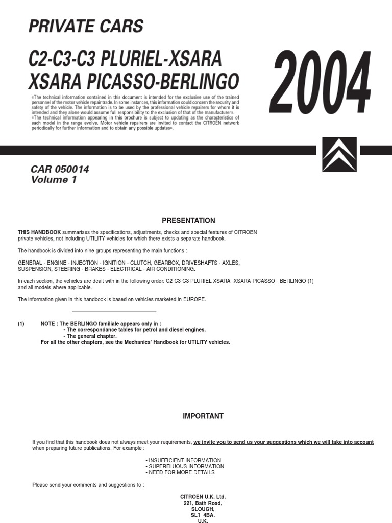 citroen c2 2004 handbook diesel engine motor oil rh scribd com Citroen Xsara Picasso Review Citroen Xsara Picasso Specifications