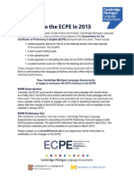 Upcoming Changes in the 2013 ECPE Exams
