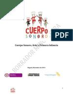 Lineamiento de Cuerpo Sonoro, Arte y Primera Infancia 2013