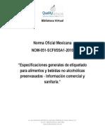 NOM-051-SCFI-SSA1-2010. Especificaciones Generales de Etiquetado Para Alimentos y Bebidas No Alcoholicas Prenevasados