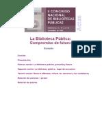 II Congreso Nacional de Bibliotecas Públicas. Salamanca, 17, 18 y 19 de Noviembre de 2004. La Biblioteca Pública