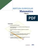 Cobertura Curricular Matematica 7basico 2013