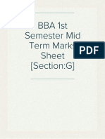 BBA 1st Semester Mid Term Marks Sheet [Section:G]