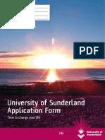 University of Sunderland Application Form