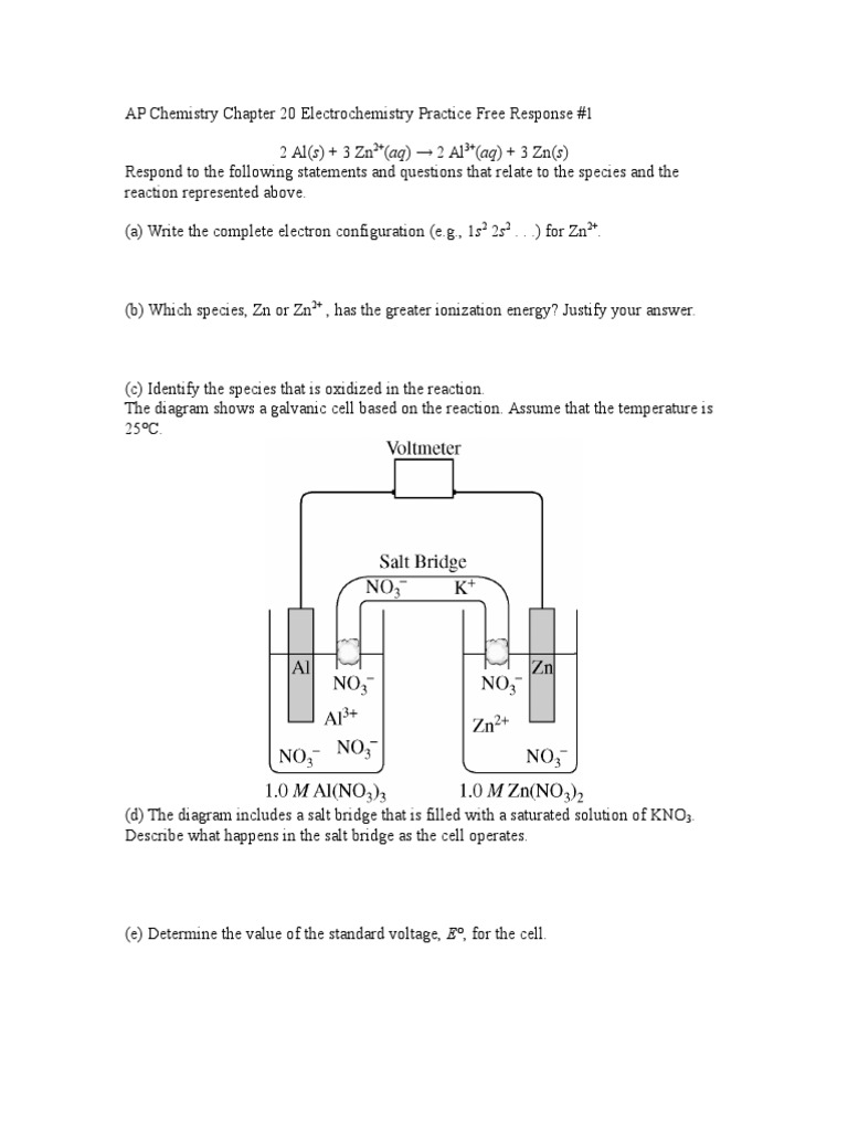 ap chemistry electrochemistry free response questions and answers