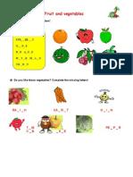 Fruit and Vegetables kiegészítő feladatok