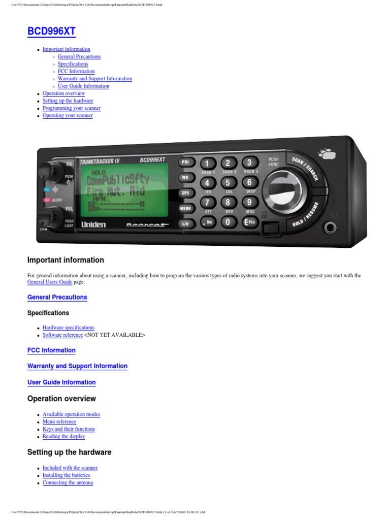 uniden bcd996xt scanner user guide image scanner computer file rh es scribd com Uniden Bearcat Handheld Scanner Uniden Bearcat Scanner Programming