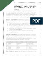 villa homework policies