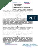 Acuerdo Ministerial Sector Construccion 2012
