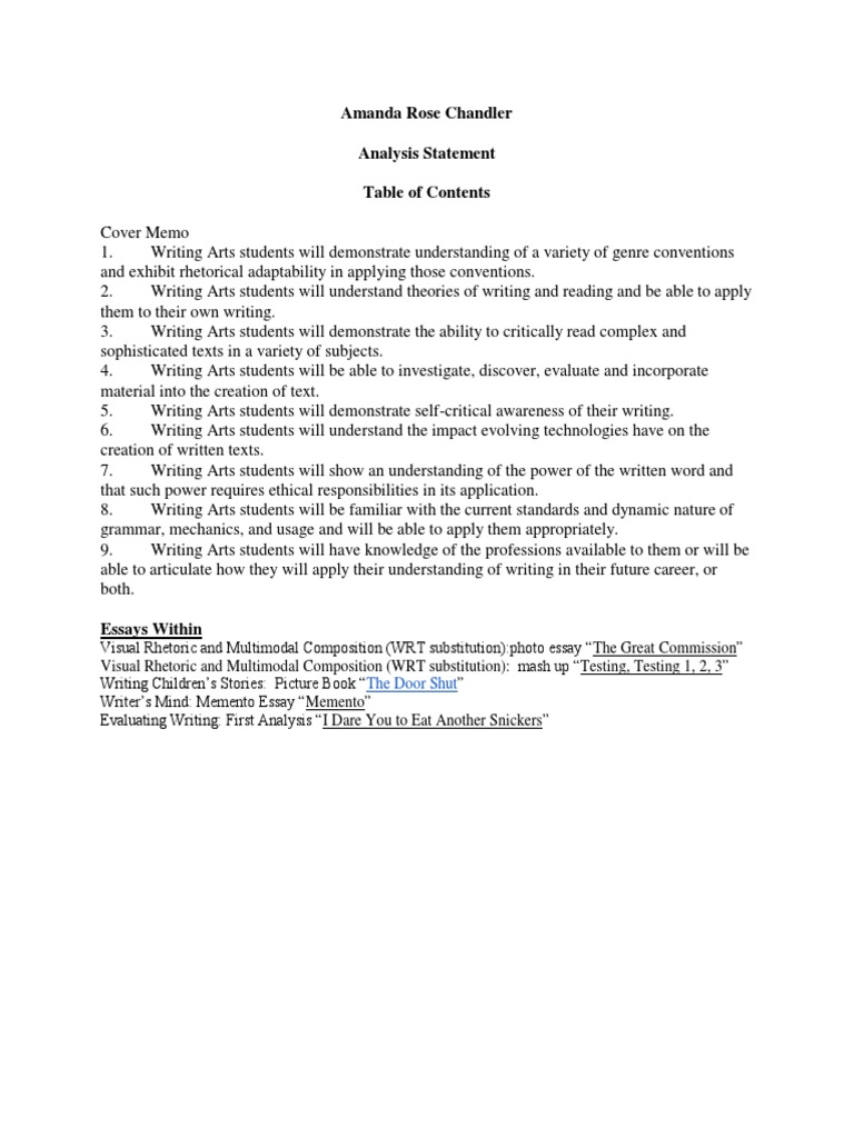 High School Essays Topics  Business Essays also Example Of A Thesis Statement In An Essay Amanda Rose Chandler Analysis Statement  Essays  Reading Process High School Essays Examples
