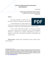 Projetos Sociais e Os Desafios Quanto Avaliação e Monitoramento