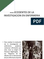Antecedentes de La Investigacion en Enfermeria
