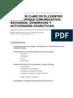 Plan de Clase El2, Actividades y Recursos