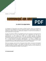 Public PDF CommJuristes 1 Mai 2007 Et Lettre