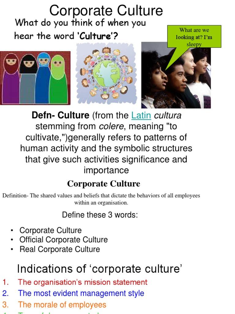 corporate culture | organizational culture | action (philosophy)