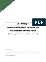Expertenpapier - Neuausrichtung der Aufnahme von Asylsuchenden in Niedersachsen