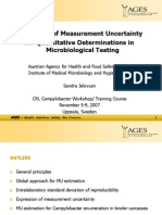Estimation of Measurement Uncertainty MU for Quantitative Determinations in Microbiological Testing Sandra Jelovcan AGES Austria