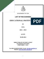 List of Educational Institutes in Goa 2011-12