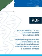 Orientaciones Lectura Interpretacion Resultados SABER 2012 g