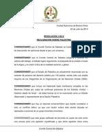 Resolucion 1-2014 Declaracion Sobre Palestina