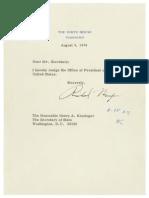 President Richard Nixon Resignation Letter 08.09.1974