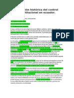 Evolución Histórica Del Control Constitucional en Ecuador
