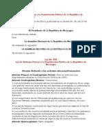 Ley 854 Ley de Reforma Parcial a La Constitución Política de La República de Nicaragua (v. Reducida)