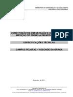 ESPECIFICAÇÕES TÉCNICAS - Subestação