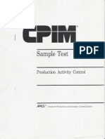 CPIM Sample Test - Production Activity Control