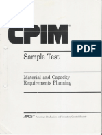 CPIM Sample Test - Material and Capacity Requirements Planning