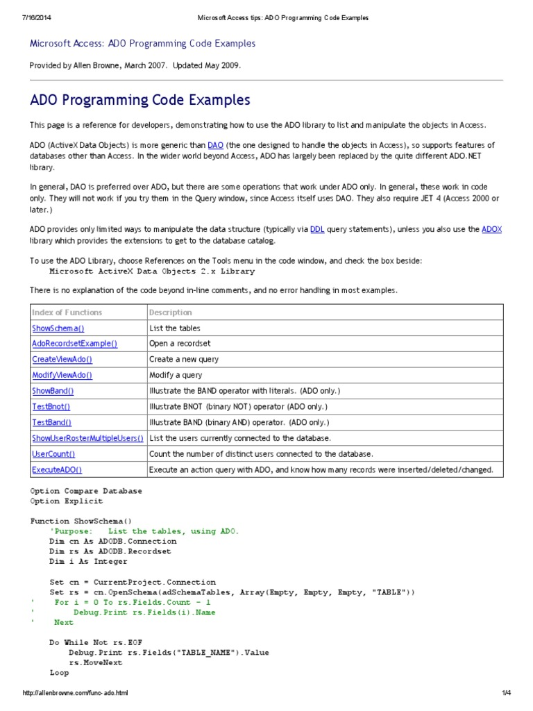 Microsoft Access Tips_ ADO Programming Code Examples