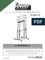 TelPro 1101 Tele-Tower Operation Manual
