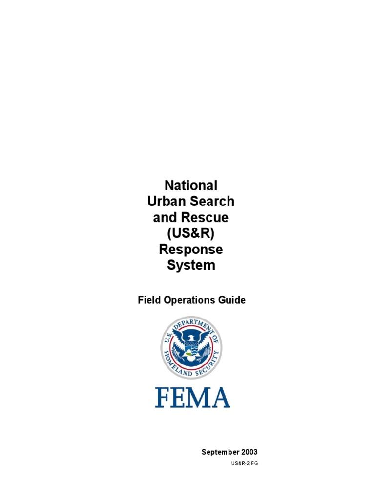 urban search rescue field operations guide federal emergency rh scribd com