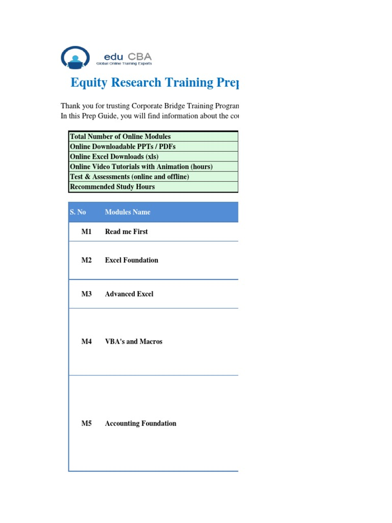 EduCBA - Equity Research Training | Valuation (Finance) | Business