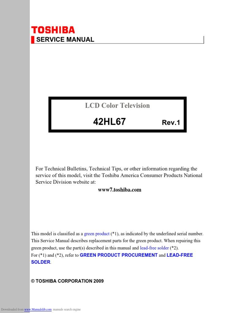 toshiba lcd tv service manual digital audio electrical wiring rh scribd com Big Screen TV Repair Manuals toshiba lcd tv service manual