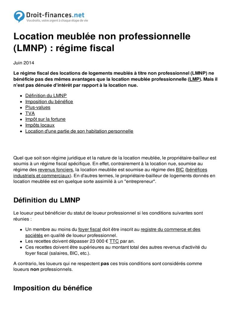 Location Meublee Non Professionnelle Lmnp Regime Fiscal 1539 N5vn6u