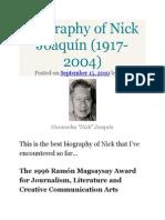 Biography of Nick Joaquín