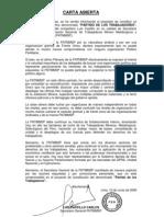 Carta Abierta de Luis Castillo FNTMMSP