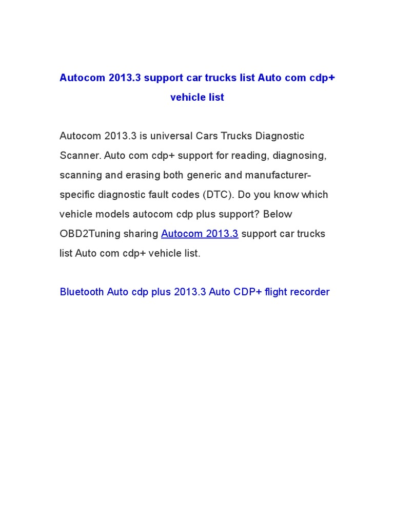 Autocom 2013 3 Support Car Trucks List Auto Com Cdp Vehicle List