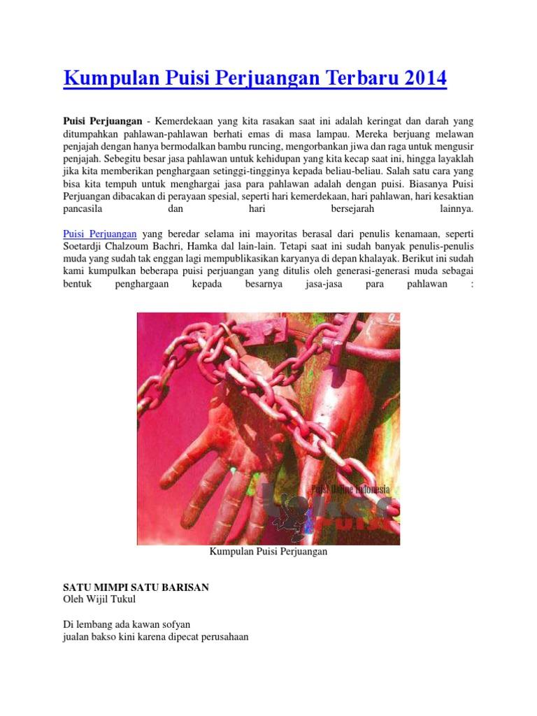 Kumpulan Puisi Perjuangan Terbaru 2014