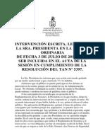 Intervención Sra Presidenta de Sesión 3 de Julio Del 2 014