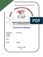 Transtorno Paranoide  - UAP