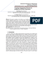 Role of Consumer Engagement Measures in Controlling Post Purchase Dissonance(1)
